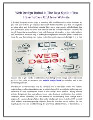Web Design Dubai Is The Best Option You Have In Case Of A New Website.doc